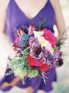 Red and purple bouquet- love these colors together!