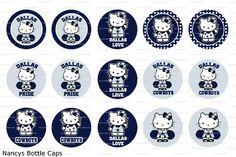 Hello Kitty Inspired Dallas Cowboys Digital Bottle Cap Images--NFL Football