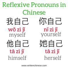 Reflexive Pronouns in Chinese The post You & Me. This & That: Pronouns in Chinese appeared first on Instanaliz . Mandarin Lessons, Learn Mandarin, Basic Chinese, Learn Chinese, Chinese Food, Chinese Flashcards, Chinese Alphabet, Spanish Alphabet, Chinese Lessons