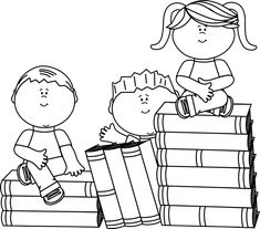 clip art black and white | Black and White Kids Sitting on Books Clip Art Image…