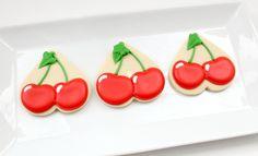 cherry cookies using heart-shaped cutter
