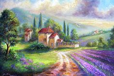 Landscape Painting - Lilac Fields In The Italian Countryside by Regina Femrite Watercolor Landscape, Landscape Art, Landscape Paintings, Watercolor Paintings, Tuscany Landscape, Countryside Landscape, Beautiful Paintings, Beautiful Landscapes, Belle Image Nature