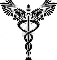 Medical symbol caduceus silhouette Stock Photo - 9179993