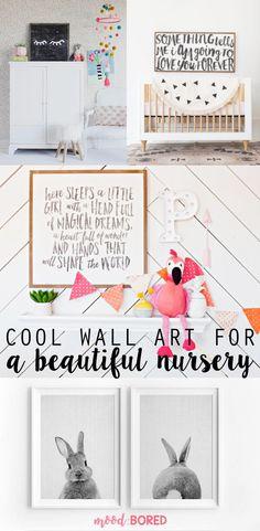 Nursery Wall Art for Cool Kids // Bold Typographical Prints are in. #nursery #wallart #kidsroom #afflink