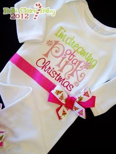 Ready to ship size 0-3 months newborn Pink Christmas Sparkles layette gown sleeper for baby girl. $44.00, via Etsy.