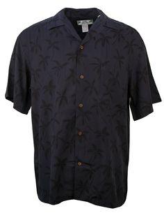 Two Palms Palm Trees Hawaiian Aloha Shirt in Black, Mens Hawaiian Shirts Clothing, TP-501R-PALM-TREES-BLACK - Paradise Clothing Company