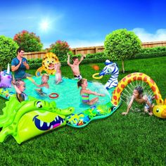 Swimming Pool For Kids Outdoor Inflatable Kiddie Pools Water Fun Splash Activity Children Swimming Pool, Kid Pool, Swimming Pools, Big Water Slides, Mermaid Party Games, Barbie Fairy, Survivor Party, Splash Party, Pool Images