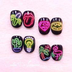 sommer nail art einfach - New Ideas Pop Art Nails, Nail Pops, Neon Nails, Love Nails, Perfect Nails, Gorgeous Nails, Nail Art Wheel, Nailart, Light Nails