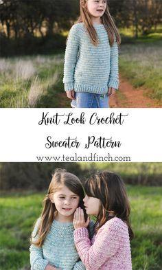 knit look crochet sweater pattern in sizes child 4 through women's plus sizes Source by jenadwyer Sweater Pull Crochet, Crochet Bebe, Crochet Girls, Crochet For Kids, Crochet Children, Crochet Winter Dresses, Crochet Clothes, Crochet Baby Sweater Pattern, Crochet Sweaters