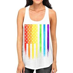 Junior's Grunge Rainbow American Flag Tee B786 PLY White Racerback Tank Top ** Read more at the image link. (This is an affiliate link) #Clothing
