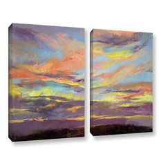 ArtWall Atahualpa Sunset by Michael Creese 2 Piece Painting Print on Gallery Wrapped Canvas Set