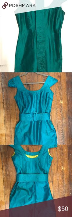 """Stunning peacock green Mad Men silk dress, belt Stunning Mad Men style raw silk cocktail dress with wide belt. Scoop front and back, with cap sleeve and side zip. Says size 8, but fits like a size 2-4. Fully lined in green silk. This is a babe dress! 36"""" long, 17"""" bust. From smoke-free, pet-free home. Calypso St. Barth Dresses Mini"""