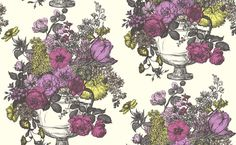 Floribunda (W0041/05) - Clarke & Clarke Wallpapers - A classical design of a large multi flowered bouquet in an urn, shown here with a hand sketched effect in black on white in the Sorbet colourway with pretty pink detail. Please request sample for true colour match. Paste the wall.
