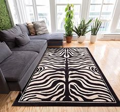 Zebra Animal Print Black & Off-White 5x7 (5' x 7'2'') Are...