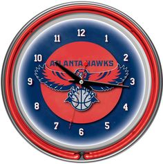 Visit The Home Depot to buy Trademark Global Atlanta Hawks NBA Chrome Double Ring Neon Clock Neon Run, Neon Clock, Atlanta Hawks, Perfect Gift For Him, Double Ring, Pull Chain, Quartz Clock Mechanism, Chrome Finish, Accent Colors
