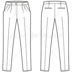 Front and back fashion illustrationof women'sdouble pleated pants with set on waistband, slash pockets on front, double welt pockets on back.