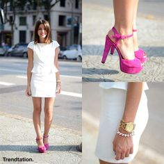 Alexandra se apunta a la tendencia peplum con un favorecedor vestido con volante a la cintura, que combina con unas preciosas sandalias de color rosa fucsia de la marca Again & Again. ¡Sencilla pero perfecta! #StreetStyle #Moda