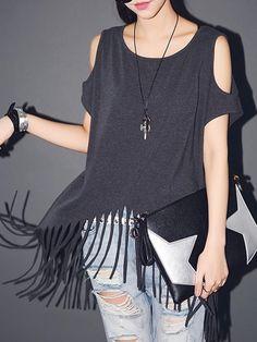 Gray Cold Shoulder Tassle Detail T-shirt   Choies