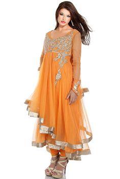#OrangePeel Net Embroidered Party #Anarkali Kameez Sku Code: 92-6537SL508890 US $110.00 http://www.sareez.com/orange-peel-net-embroidered-party-anarkali-kameez.html