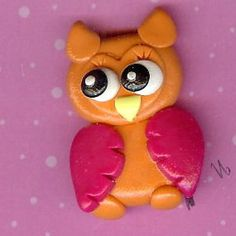 Neon Orange Owl Polymer Clay Beads and Bow Centers, Hair Bow Centers, Pendant, jewelry Charm. $1.99, via Etsy.