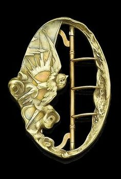 An Art Nouveau mother-of-pearl buckle, by Gautrait,