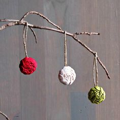 Red Green and White Ornament Set  Set of 3  by ponyupdesigns, $18.00