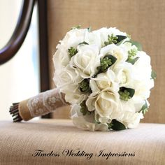 NEW TWI Real Touch Bouquet Wedding White Roses Greenery Rustic Bridal Flowers Real Touch Cream