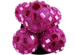 Glitter Disco Ornament Balls, 2-1/4-inch, 6-piece