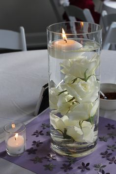 Submerged Rose Centerpieces with Floating Candle                                                                                                                                                      More