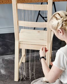 Get creative with a weaving project. Start off by making a framework with string.