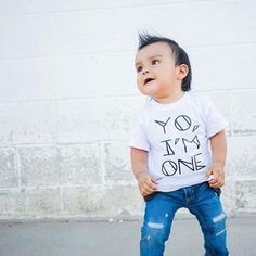 """Commemorate the First Birthday Milestone with this """"Yo, I'm One"""" tee! It only happens once, so make it memorable! Printed in Portland, Oregon, USA View Our Child Size Chart HERE Milestone Birthdays, First Birthdays, Hipster Kids Clothes, Size Chart For Kids, All Kids, One Year Old, It's Your Birthday, Special Day, Oregon Usa"""