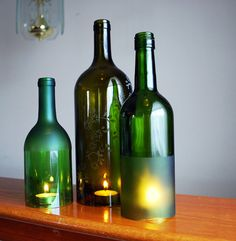 Etched Wine Bottle Hurricane Candle Holders