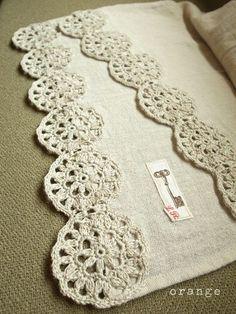 cotton stole with a crochet motif inspiration only, no pattern Crochet Motifs, Crochet Borders, Crochet Trim, Crochet Doilies, Easy Crochet, Crochet Flowers, Crochet Stitches, Knit Crochet, Crochet Patterns