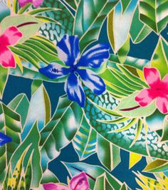 Tropical Shirting Fabric- Floral Green & apparel fabric at Joann.com
