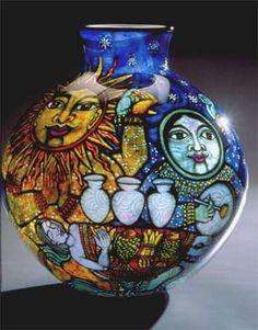 Cappy Thompson Painted Glass Vessels: Grisaille Vitreous enamels reverse-painted on blown glass Glass Artwork, Grisaille, Painted Jars, Mosaic Art, Mosaics, Glass Paperweights, Moon Art, Art Forms, Amazing Art