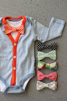 Cardigan and Bow Tie Onesie Set - Trendy Baby Boy - Orange and Blue