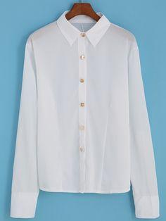 Blusa solapa cremallera botones -(Sheinside)
