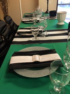 Emerald Green with Black and White Head Table at Big Top Tent Rentals