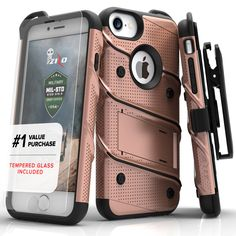 ZIZO BOLT Super Defender iPhone 7 Case - Rose Gold/Black