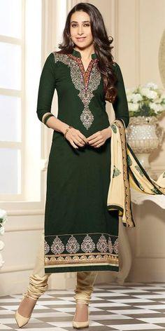 Karishma Kapoor Green And Cream Cotton Salwar Suit With Dupatta.