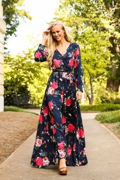 Loved By You Navy Print Maxi Dress at reddressboutique.com