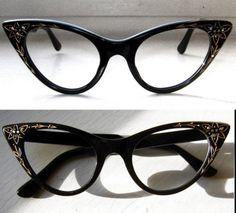 1b9d7949b3fd53 50 s Black Cat Eye Frames w Rhinestones. Lunettes ...