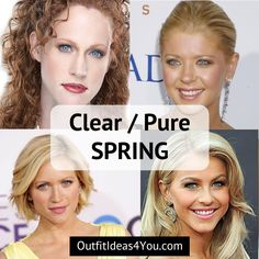 "You're a Clear Spring! Also known as a ""pure spring"" in the 4x4 color system. You are warm, light, CLEAR and BRIGHT. Clear and bright spring eyes are the signature of a clear spring. Light hair. Light skin. Go ahead and download your clear spring color palette and order your clear spr"