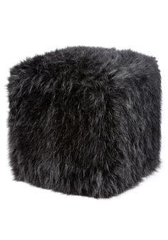 Black Fox Faux Fur Pouf Footstool