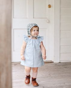 blue toddler dress // dusty blue linen dress // spring outfit// baby girl dress // boho dress // gathered smock dress // little girl dress Toddler Fall Outfits Girl, Girls Fall Outfits, Toddler Dress, Baby Dress, Baby Outfits, Easter Outfit, Vintage Inspired Outfits, Little Girl Dresses, Spring Dresses