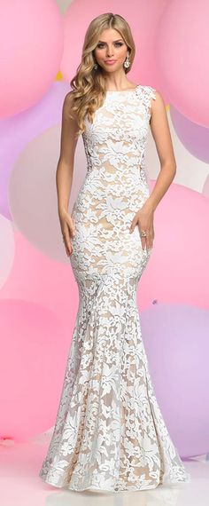 Exquisite All-over Lace Bateau Neckline Mermaid Evening Dresses With Beaded Lace Appliques