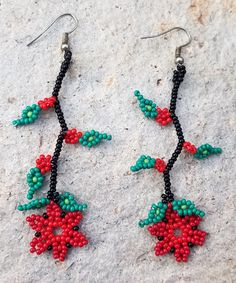 Rosie Red Glass Seed Beaded Huichol Art Earrings by MiCasitaDeChaquira on Etsy https://www.etsy.com/listing/492562946/rosie-red-glass-seed-beaded-huichol-art