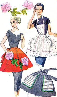 Vintage Simplicity 4478 apron all views are simple to make. Full apron, view features large shaped pockets and contrast fabric trim. Half Apron Patterns, Vintage Apron Pattern, Retro Apron, Vintage Dress Patterns, Couture, Apron Dress, Bib Apron, Patron Vintage, Vintage Outfits