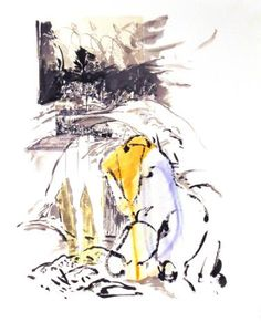 Hill Series, Rest Stop Minimalist Art, Saatchi Art, Rooster, Rest, Collage, Ink, Watercolor, Art Prints, Animals
