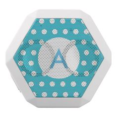 Monogrammed Turquoise Blue Polka Dots White Bluetooth Speaker